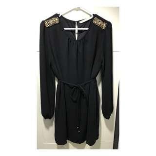 MINIMAL GOLD Black Dress (Preloved)