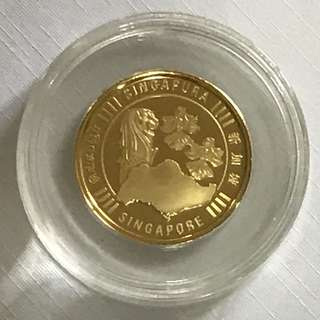 {Collectibles Item - Gold Coin} Very Rare Piece Of 999.9(24K) Pure Gold 足金 SINGAPORE 新加坡 Merlion, Orchids & Singapore Island 1/4oz 999.9 Fine Gold Coin