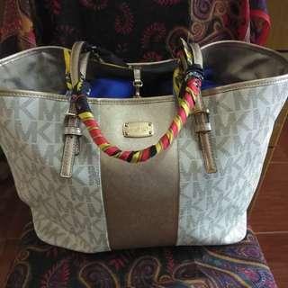 MK center stripe caryall tote bag - vanl/pgold