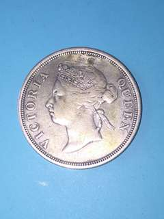 Straits Settlement QV Silver Coin 50 Cent Year 1888 Sale 30%