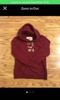 Authentic Hollister maroon red hoodie sweatshirt jacket