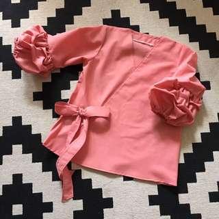Kimono Wrap Ruched Sleeve