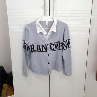 Grey white collared tee shirt long sleeved school girl top