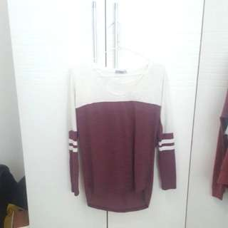 Cotton on hi-low maroon white long sleeved top