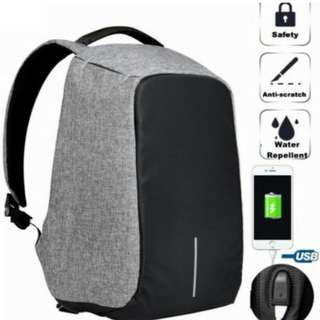 Tas Anti Maling Anti Theft Backpack with USB External Charging Water Resistant - Abu