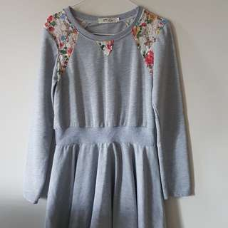Grey Sweater Dress with Floral Lacy Shoulders