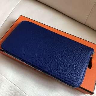 🔥BNIB hermes silk in Wallet blue electric