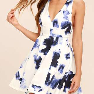 Lulu's Seeing Chic Blue and Ivory Print Skater Dress