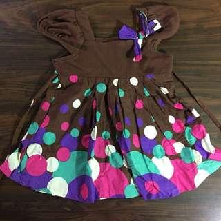 Rare Edition Brown Circles Print Dress