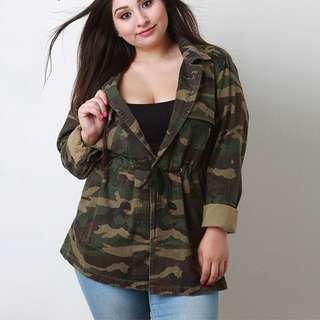 Plus Size Camouflage Army Print Cardigan
