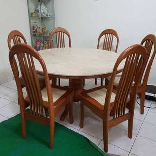 6 seat marble dinner table
