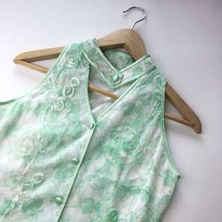 Oriental Inspired Pastel Green Floral Cut-in Top