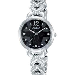 Alba Ladies AH8437X1 Jam Wanita AH8437X AH8437 Black Silver Stainless Steel