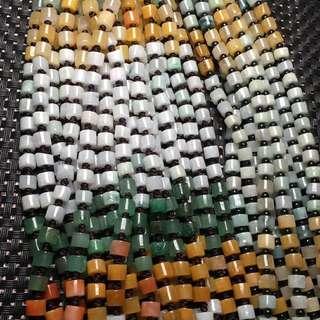 翡翠東陵玉項鍊 白色桶珠是翡翠 15條