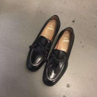 39號 Christian Louboutin CL 紅底 牛津鞋 平底鞋 單鞋