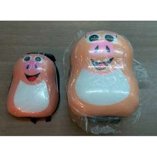 A Set of 2 Luggage and Backpack (Pig)