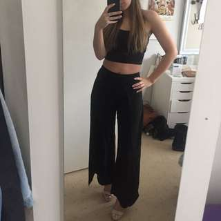 Bardot slide split black dress pants