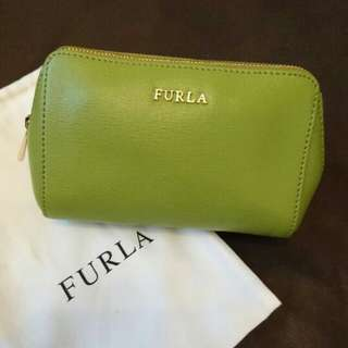 💞💖FURLA Green Cosmetic Bag with Zipper