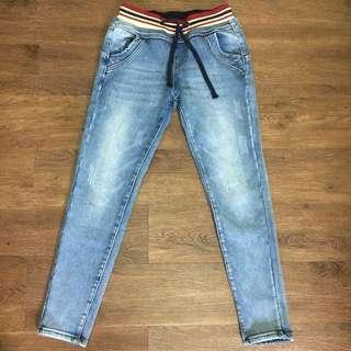 Winter stretchable denim light blue fleece jeans size 28