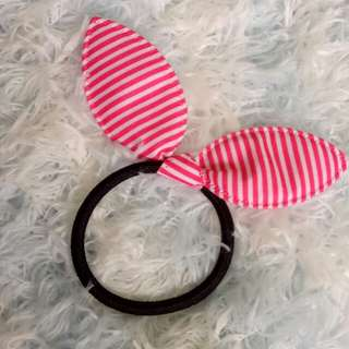 Pink Bunny Ribbon Hairtie