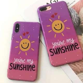手機殼IPhone6/7/8/plus/X : 簡約笑臉SUNSHINE