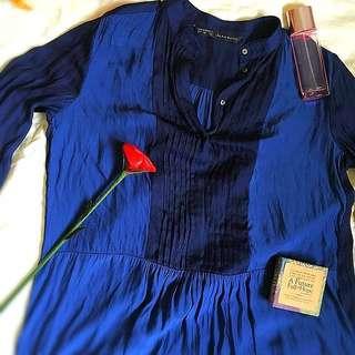 Zara navy blue formal top