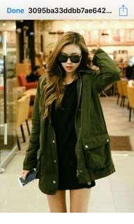 Army Green  parka long Jacket