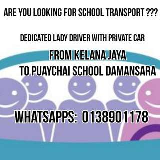 Transportation Home School from Kelana Jaya to Puaychai 2 school Damansara