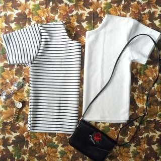 Stripes and white crop top