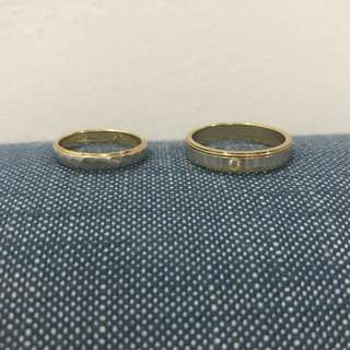 8.2 grams of 18 Karat yellow gold wedding bands. Small ring with platinum.