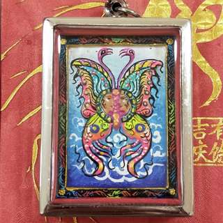 King Of Butterfly Mongkow Thep Jamleng Block A, Behind With Semi Precious Raw Stones, Real Silver Takrut & Kruba Krissana Personally Hand Written Gold Yant. Strongly Blessed By Kruba krissana, Wat Weruwen. B.e : 2557 /2014.
