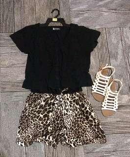 Romper Black-Leopard