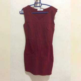 Maroon bodycon Dress #FEB50