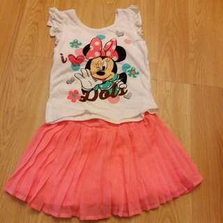 全新Disney 米妮套裝 螢光橙裙