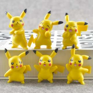 Pokemon Pikachu Figurines / Cake Toppers (6 Pcs A Set)