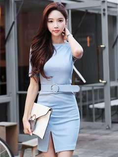 AO/DZC072675 - Korean Pure Color Split Slim Cotton Short Sleeve Dress