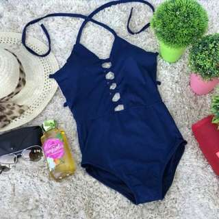 Open Front Sexy One Piece Halter Swimsuit