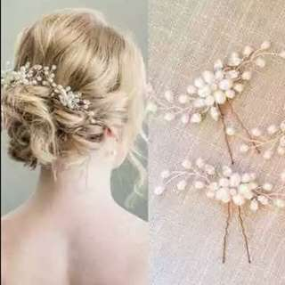 1pc Fashion Golden Wedding Bridal Pearl Flower Leaves Crystal Hair Pins Clips Luxury Hair Jewelry