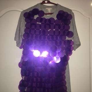 Grey top with huge purple sequins