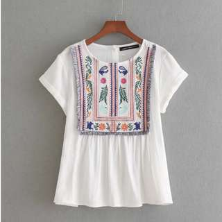 (Pre-Order) Kara Embroidery Babydoll Top