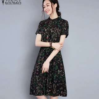 ZANZEA Women Vintage Floral Print Knee Length Dress Summer Stand Collar Short Sleeve Casaul Dresses Robe Vestidos Plus Size