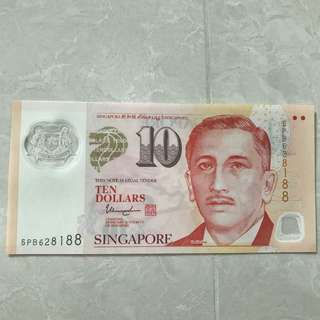 Singapore $10 ten dollar note with auspicious serial number