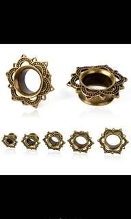 14 mm 2pc  Flesh Tunnel Ear Piercing Gauges Body Jewelry Brass Rose Stud Plug