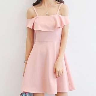 Off shoulder pink pastel dress