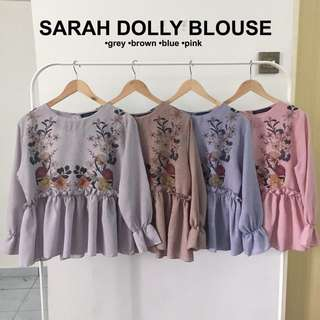 (PO) SARAH DOLLY LONG SLEEVE BLOUSE / TOP (Grey, Brown, Blue, Pink)