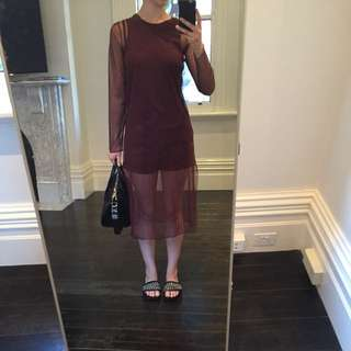 Zara magenta mesh long sleeve top