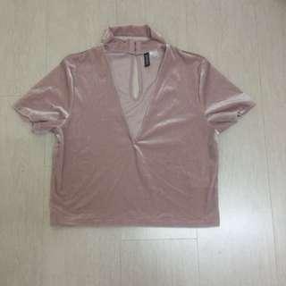INC postage H&M velvet pastel pink top