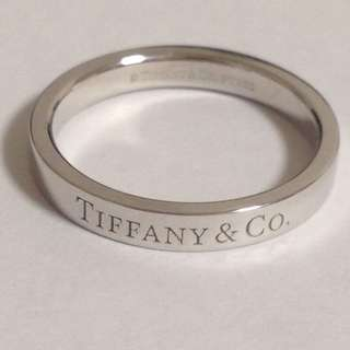 Mint Authentic Tiffany & Co. Logo Band Ring Platinum Pt950 Size 6.25