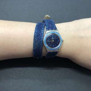 Denim long strap swatch watch