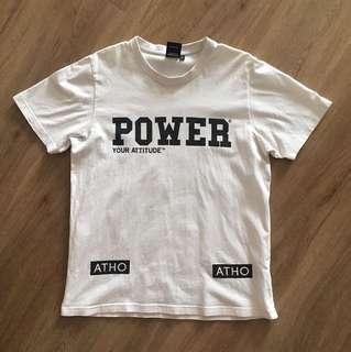 White powerful word t shirt cotton